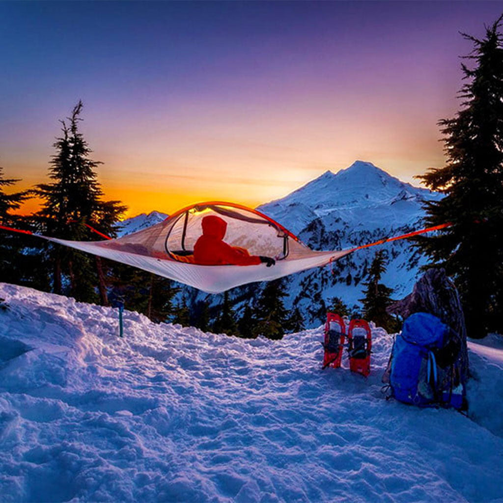 Tentsile Flite tent strung between trees above snow