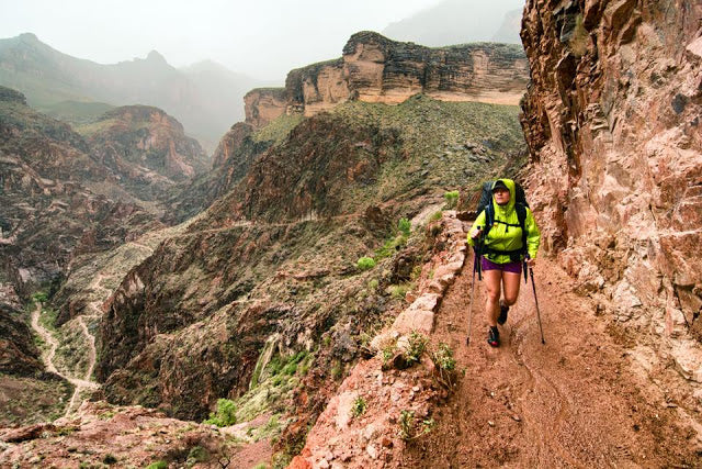 Person hiking Bright Angel Trail in Grand Canyon National Park