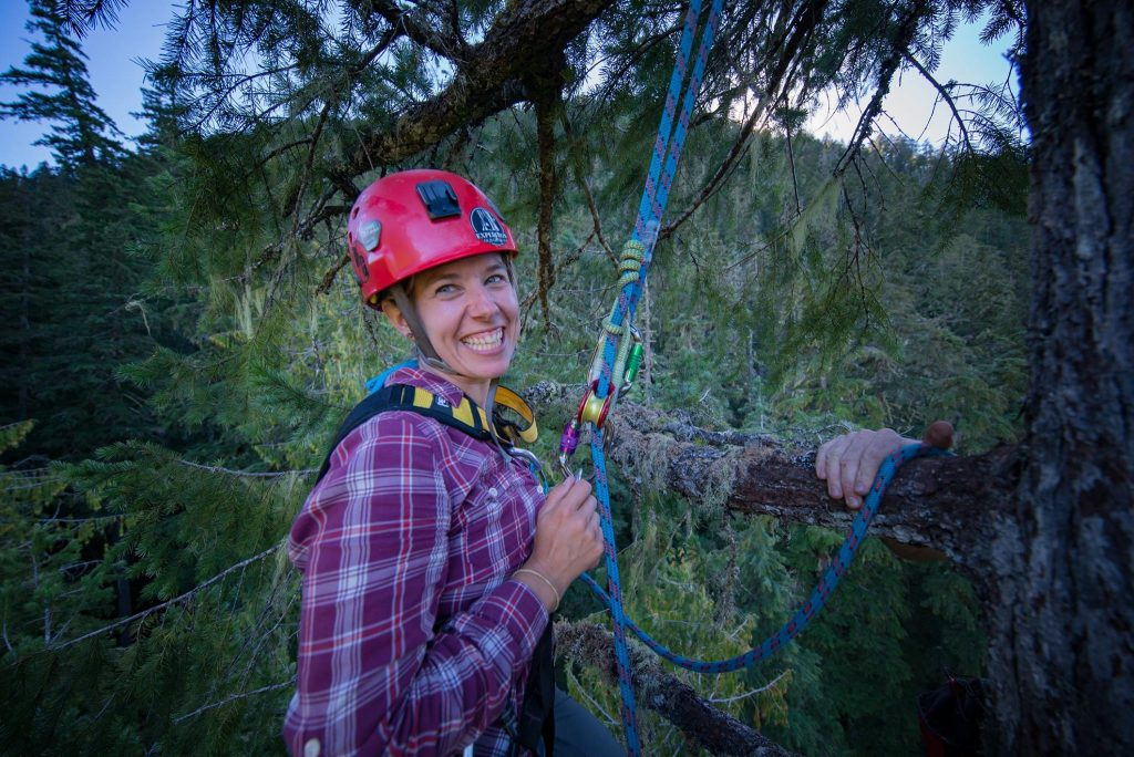 Kelli Martinelli smiling while rigged to climbing gear high up in Oregon fir tree