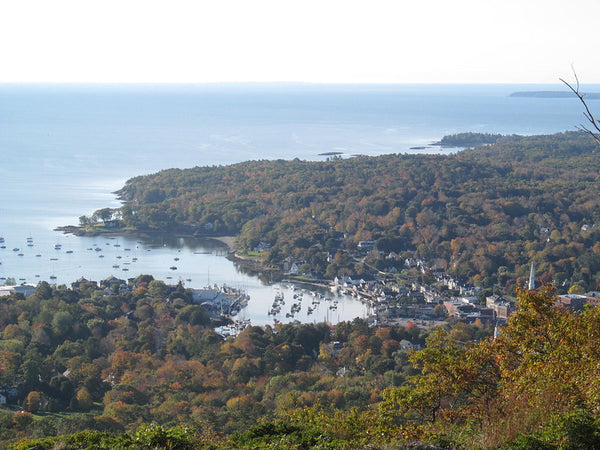 View from the top of Mount Battie Trail in Camden, Maine