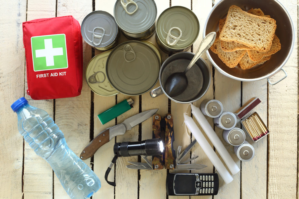 Items for emergency on wooden table