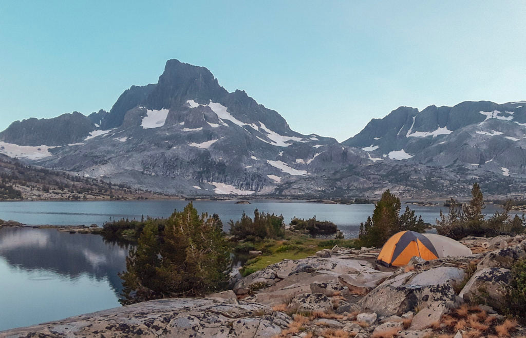 tent pitched by Thousand Island lake