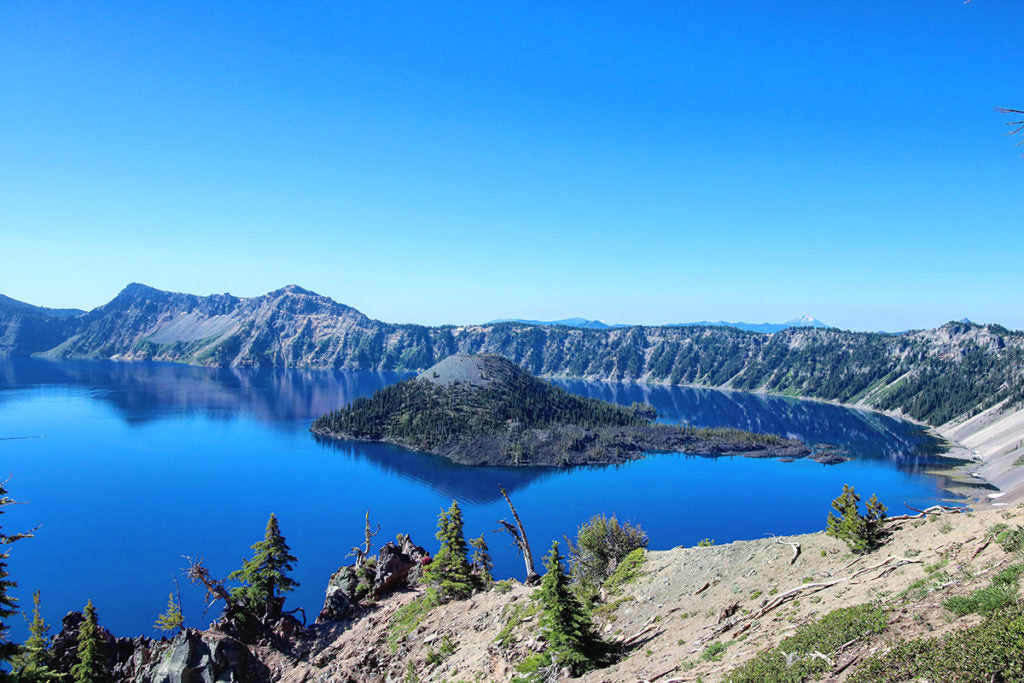 Crater lake during summer