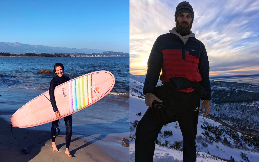 On the left half of the image is a smiling woman holding a surfboard with the ocean behind her, and on the right half is a bearded mountain man standing on a snowy hillside.