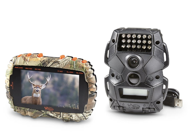 SD card reader with photo of white tailed buck on screen sitting next to trail camera with USB cord