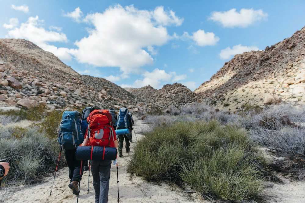 group of backpackers hiking down desert trail with trekking poles