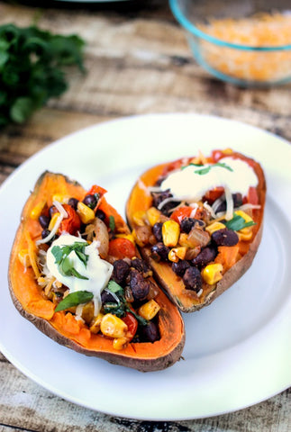 Sweet Potatoes stuffed with beans and corn