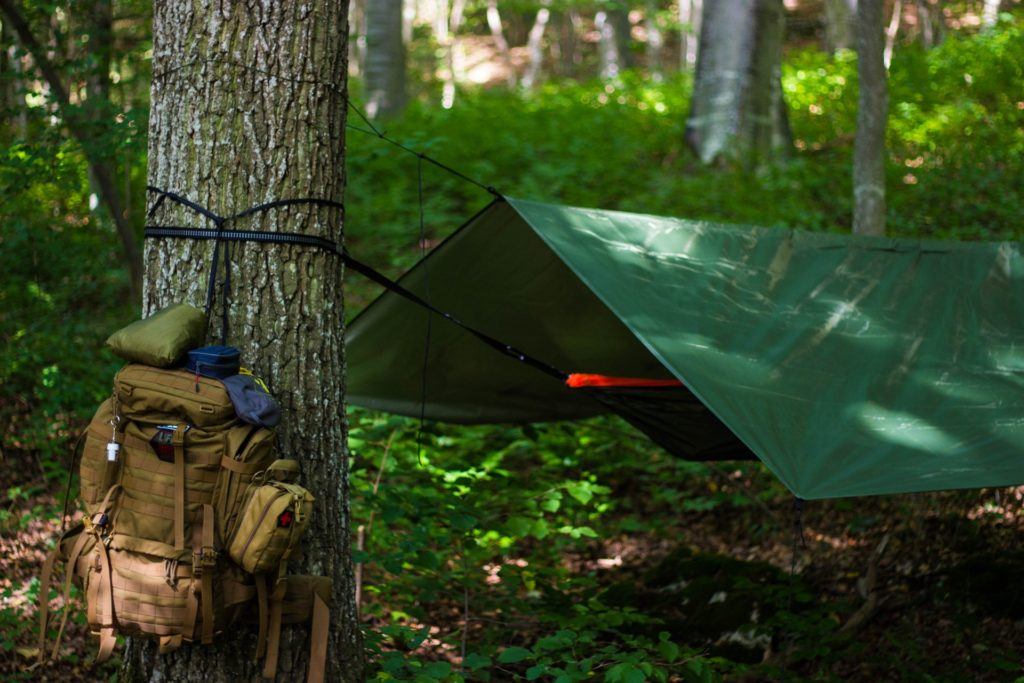 Tree shelter cover with backpack.
