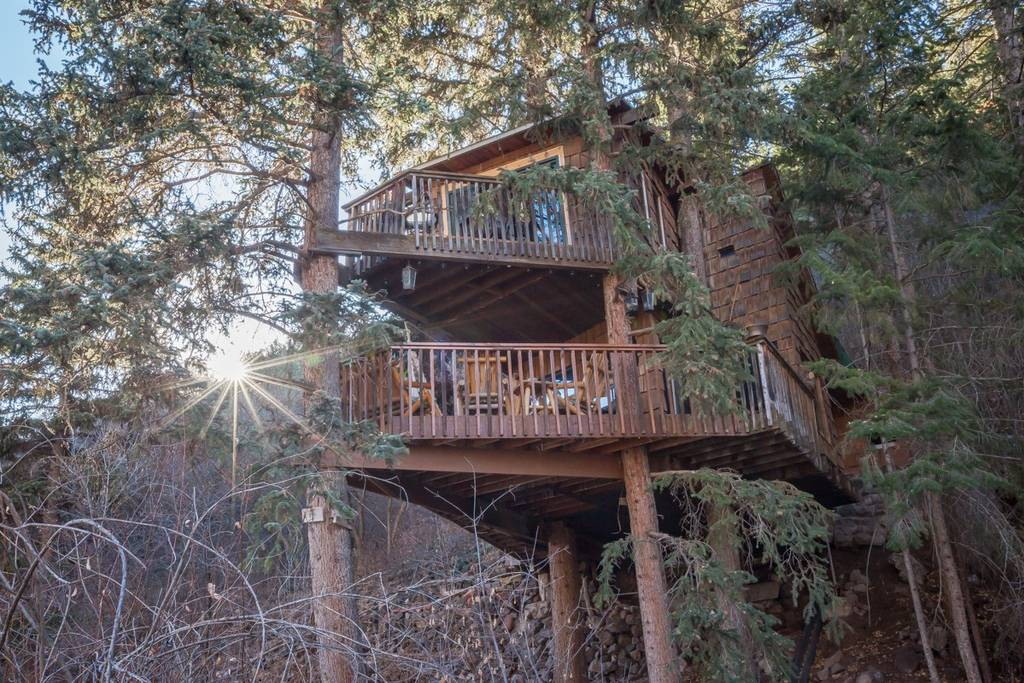 cabin built high in the trees