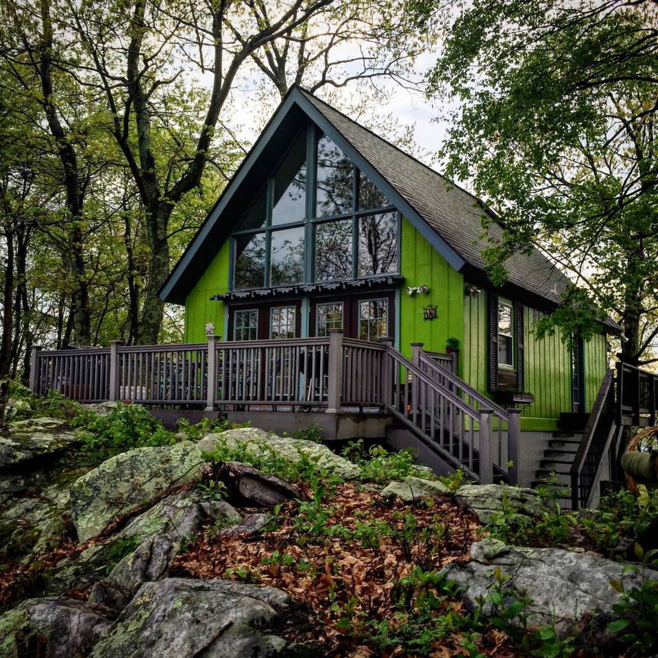 green colored cabin in West Virginia