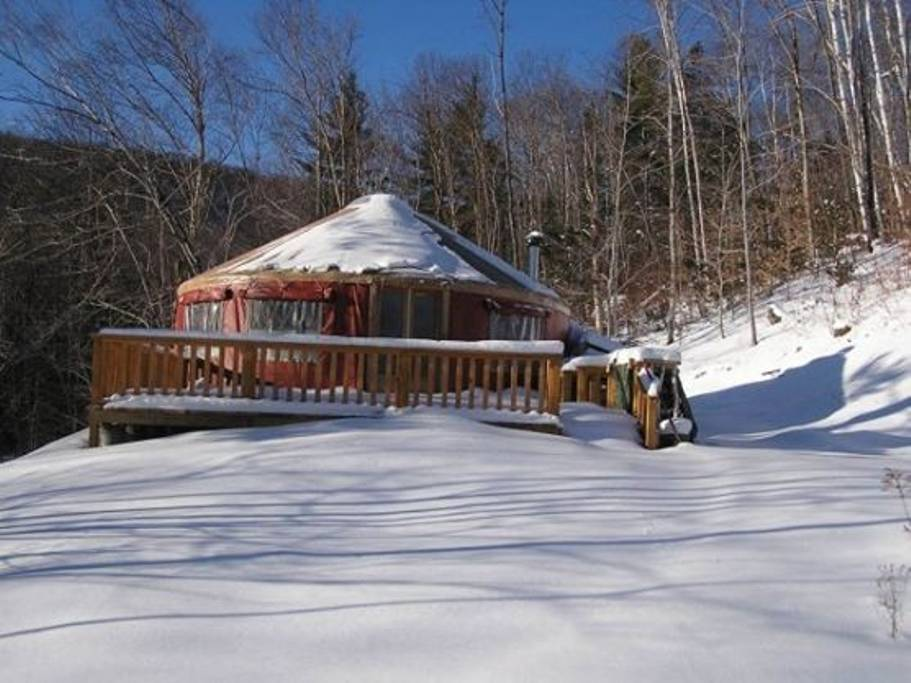 snow covered yurt in New Hampshire