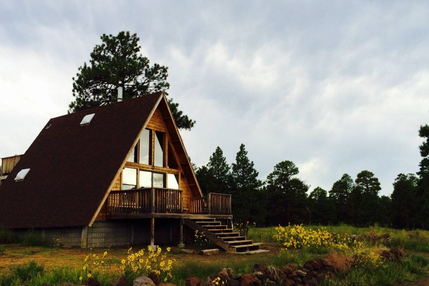 A-frame cabin in the Coconino National Forest in Arizona