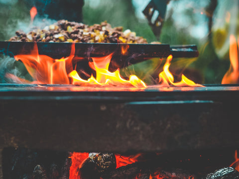 hash breakfast on a campfire
