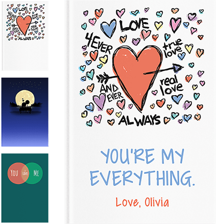 """front of personalized lovebook titled, """"You're My Everything. Love, Olivia"""""""