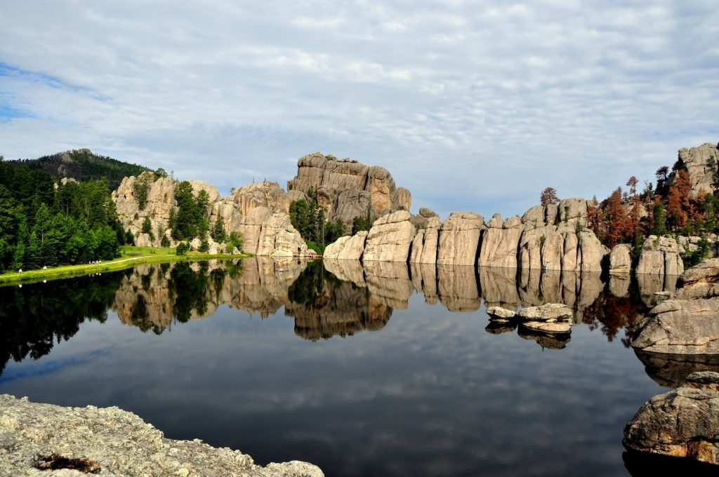 Rock formations around lake at Custer State Park, South Dakota.