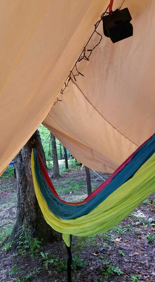 canopy over tree hammock in campground
