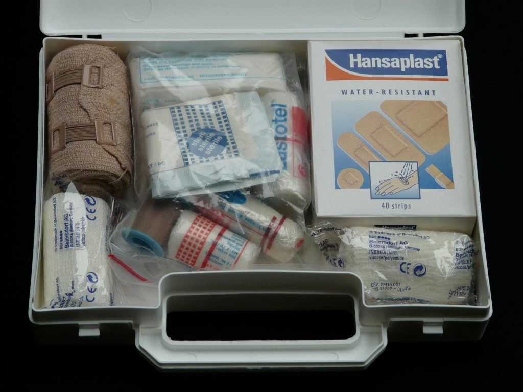 First Aid Kit opened with bandages