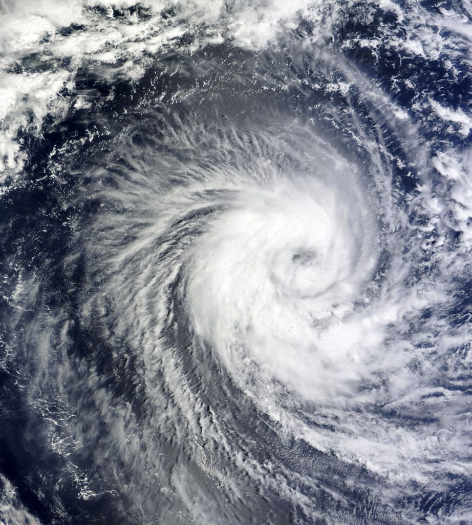 Aerial view of hurricane clouds over ocean