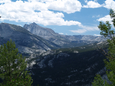 View of mountain valley from California's John Muir Trail.