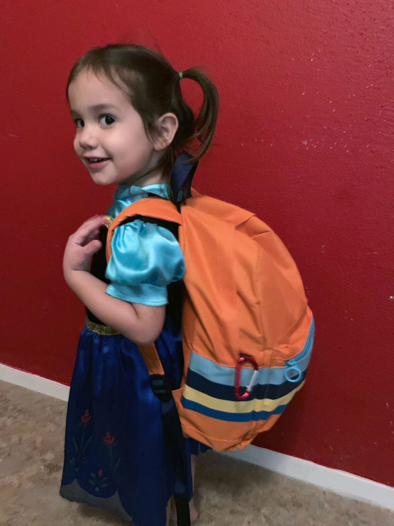 Kid Rogue carries her personalized kid's bug out bag.