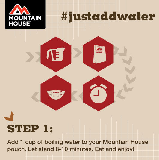 Infographic containing one step to making Mountain House meals. Add 1 cup of boiling water to your Mountain House pouch. Let stand 8-10 minutes. Eat and enjoy.