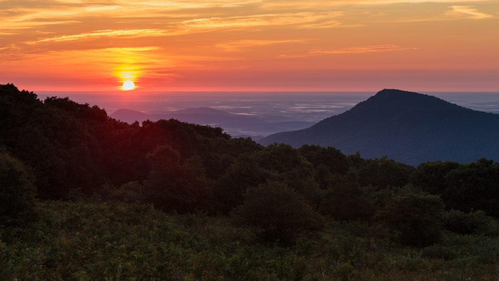 Sunrise from Old Rag Mountain peak overlook.