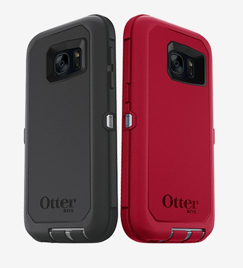black otterbox phone case next to red otterbox phone case