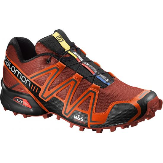 Red and orange colored salomon right running shoe