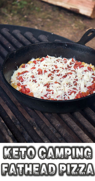 fathead pizza cooking in skillet on top of backyard grill