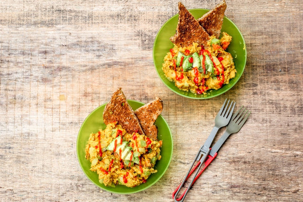 two green bowls of chickpea flour breakfast scramble