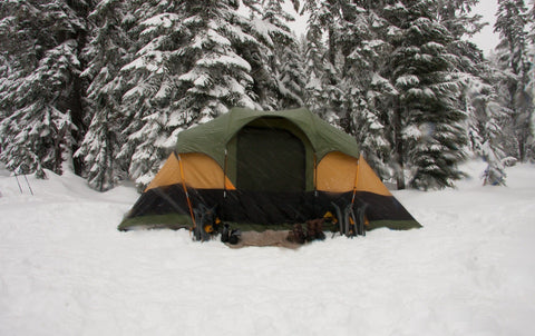 Winter tent set up in snow by woods.