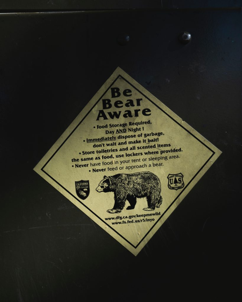 Be Bear Aware sign with what to and not to do