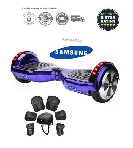 2019 APP ENABLED Purple Chrome Hoverboard - Bluetooth Speaker - Segwayfun