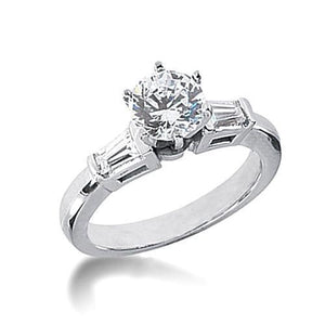 1.85 Ct. High Quality Diamond Ring White Gold New Prong Set Center And Tapered Baguettes On Side