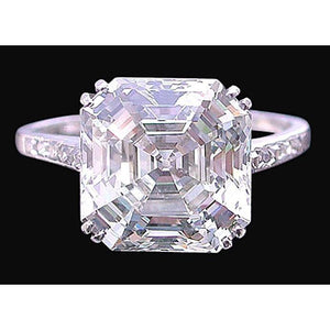G Vvs1 Asscher And Round Brilliant 3.15 Carat Diamond Ring White Gold