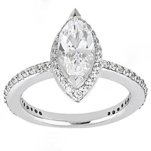 1.65 Carat F Vvs1 Marquise Cut Diamonds Ring White Gold