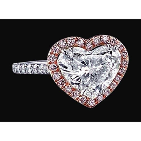 2.16 Ct.Heart Center Diamond Ring Two Tone Gold Jewelry