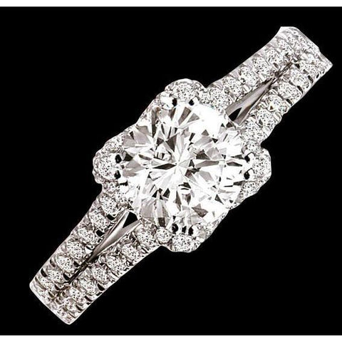 2 Carat Round Brilliant Diamonds Double Shank Ring Jewelry White Gold 14K