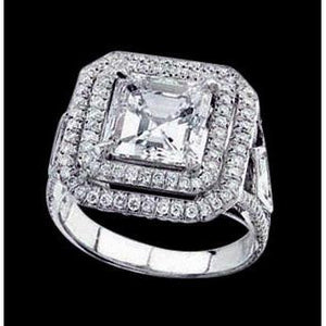 Princess Center Pave Diamonds 2.25 Cats Ring White Gold