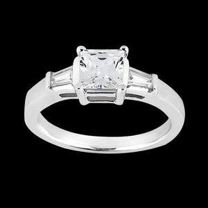 Princess And Baguette 1.20 Carat Diamond Ring Solid White Gold 14K Jewelry