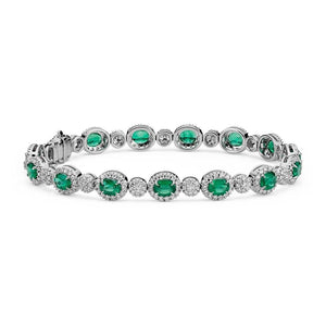 8.5 Ct Green Emerald And Diamond Tennis Bracelet 14k White Gold