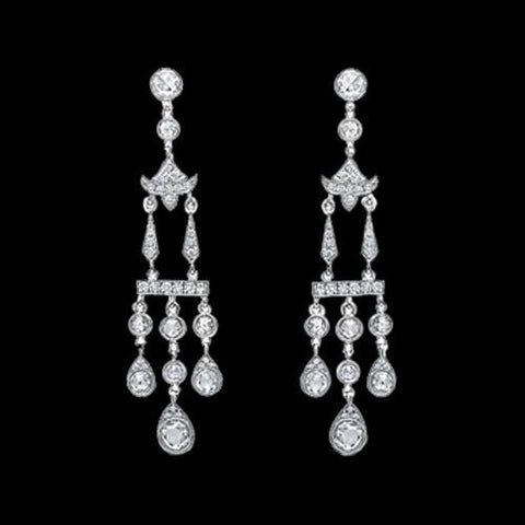 Diamonds Chandelier Earring 3.5 Carat White Gold Hanging Jewelry Women