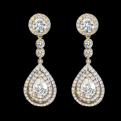 Pear Cut Diamonds 7 Carats Chandelier Earring Yellow Gold Diamond Earring