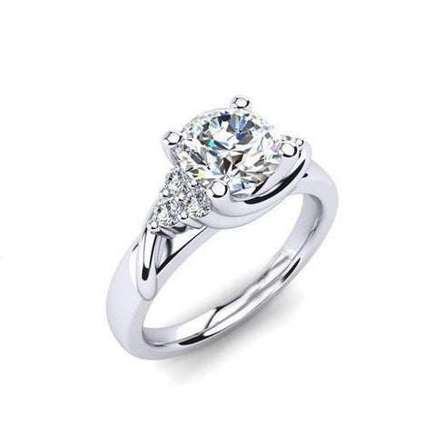 Solitaire With Accent 2.50 Ct Diamonds Anniversary Ring White Gold