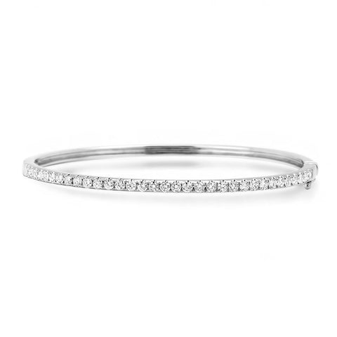 Round brilliant cut 3.20 ct diamonds women bangle bracelet gold 14k