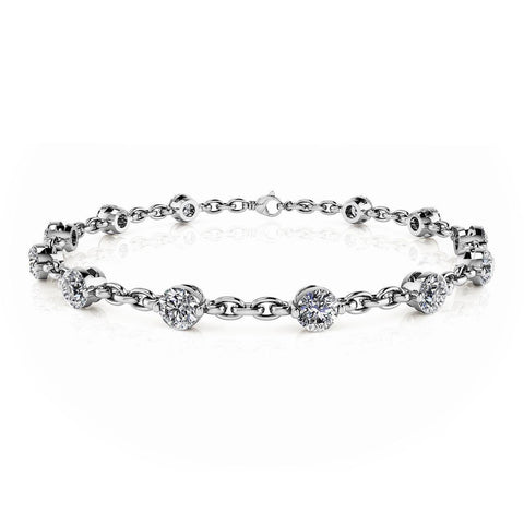 Sparkling 9 carats round diamonds chain link bracelet white gold 14k