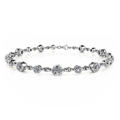 Gorgeous Big 13.50 Ct round diamonds chain link bracelet white gold
