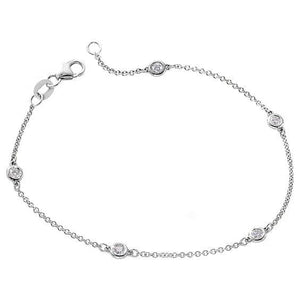 White gold 14k chain yard of diamond bracelet 2 carats round cut