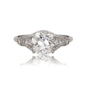 Engagement Ring Old Miner Cut Diamond 2.30 Carats White Gold 14K