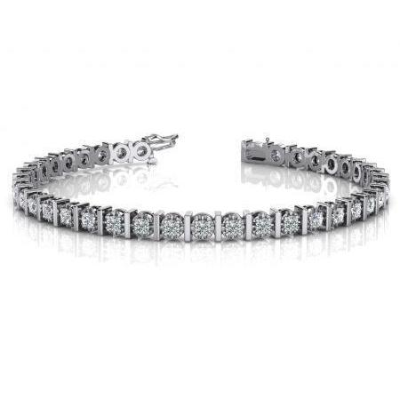 4 PRONG SET round diamond tennis bracelet gold white 7 carats